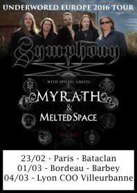 SYMPHONY X + MELTED SPACE + MYRATH au CCO / Villeurbanne, 04/03/2016